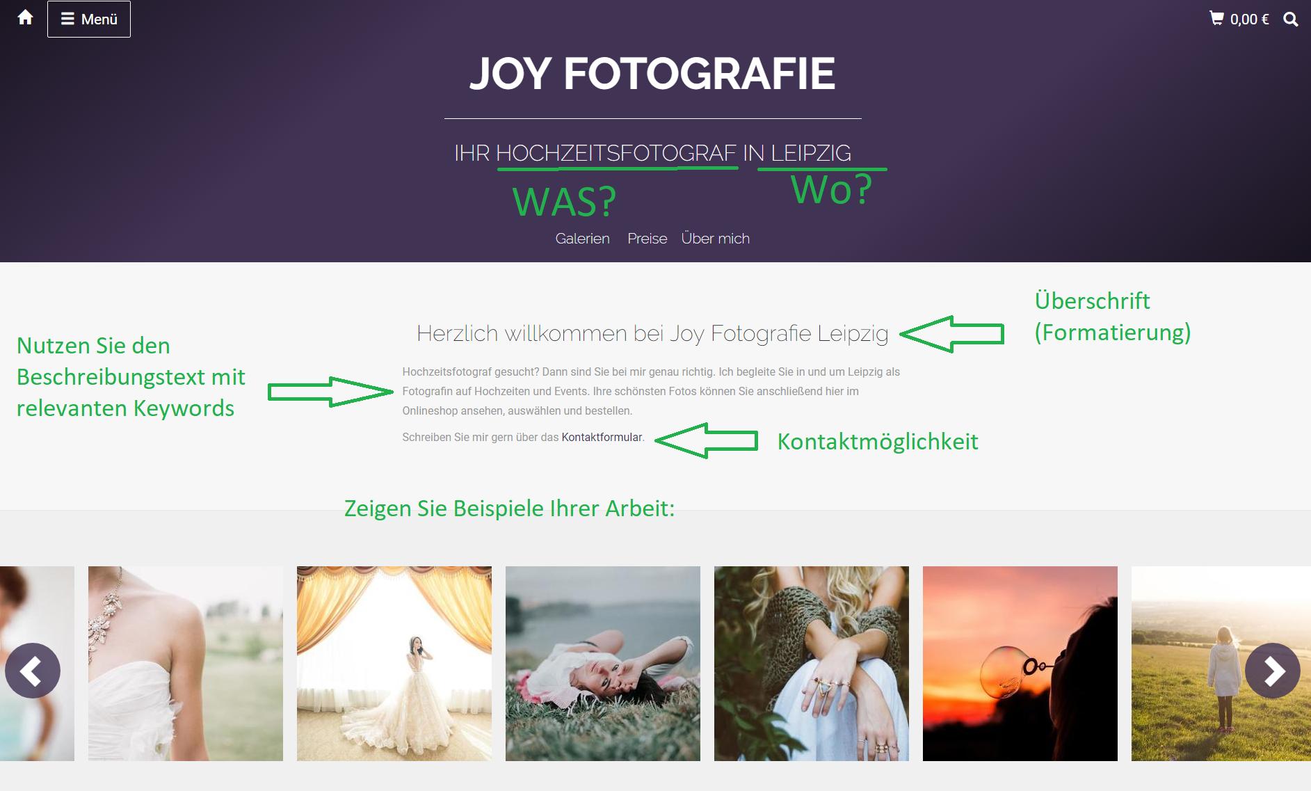 Beispiel Startseite Fotografenshop SEO relevant