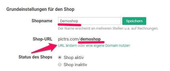 Link zum Pictrs-Shop ändern / URL anpassen