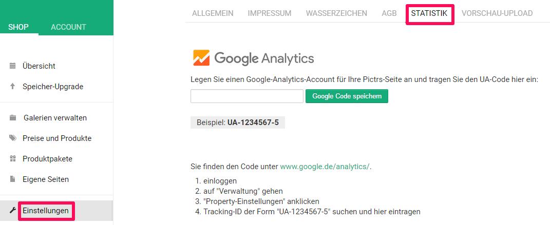 Foto-Onlineshop mit Google Analytics verknüpfen